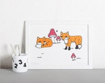 Fox and Toadstool Screen Print, Nursery Art
