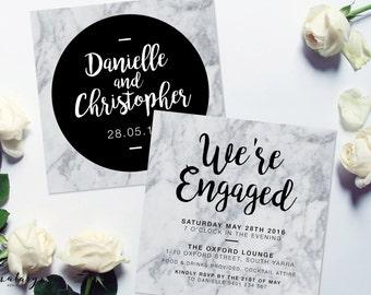 Printable Engagement Invitation - Modern Marble DIY