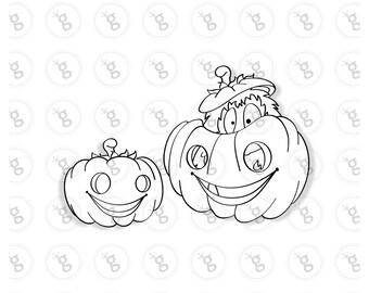 """Digi stamp set """"hedgehog in a pumpkin"""""""