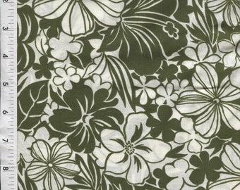 "Cranston ""Martinique"" Hawaiian Tropical Toile Green Fabric"