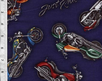 "Robert Kaufman ""Born to Ride"" Harley Motorcycle Fabric"