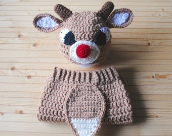 Rudolph Hat, Reindeer Hat, Christmas Baby Hat, Christmas Hat, Holiday Hat, Baby Hat, Christmas Photography, Rudolph the Red Nosed Reindeer