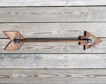 Industrial Pipe and Wood Arrow.  Handmade Wall Art, Towel Bar, Rack, Rustic Decor