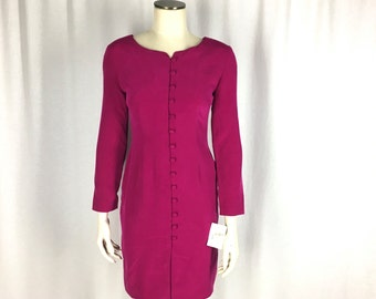 "NOS Petite Sophisticate Silk Dress Sz 2 / 4 34"" Bust Sheath Fuchsia Faux Button Front Mad Men Vertical Darts Removabe Shoulder Pads"