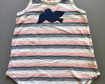 Girl's tank top, size 6 to 7, racer back, white striped with navy and pink, with denim bird applique, for summer everyday, anyday, play, fun