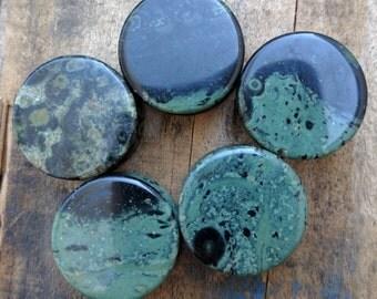 """Kambaba Jasper Green Double Flared Saddle Plugs (Pair) 8mm (0g) 10mm (00g) 12mm (1/2"""") 14mm 9/16"""" 16mm 5/8"""" 18mm 20mm 25mm 1"""""""
