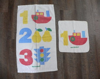 FREE SHIPPING! Vintage Marimekko Numbers / Counting Hand Towel and Wash Cloth