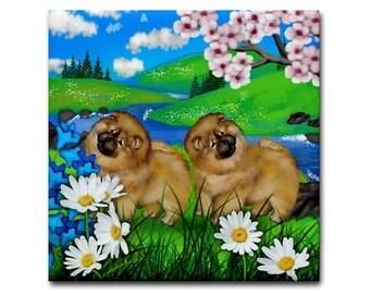 CHOW CHOW DOG Flowers Art Ceramic Tile Coaster optional frame