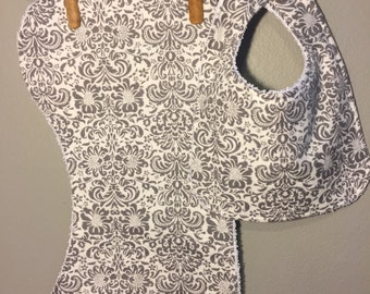Damask Baby Bib, Burp Cloth Set