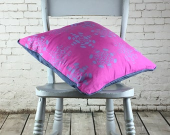 Pink and blue cushion Hand made cushion cover, hand dyed magenta and screen printed by hand pattern in lilac with faux blue suede back