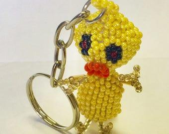 Chick Beaded Keychain  GA4/keychain/animal keychain/beaded keychain/chicken/cute gift/chicken keychain/trinket