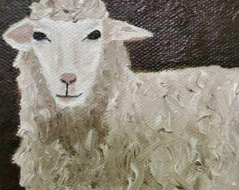 White Sheep - Oil Painting - Mini