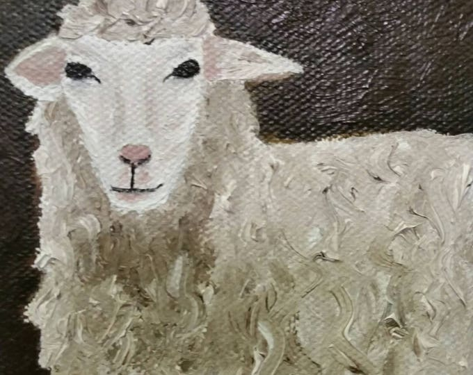 White Sheep - Oil Painting - Mini