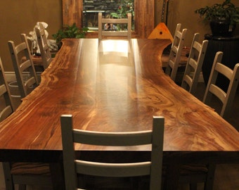 Single slab Claro Walnut dining table - Live edge designs by Plank To Table