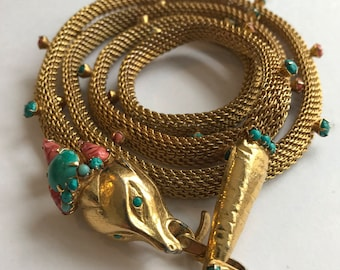 Vintage Original By Robert Gold Plate Turquoise Coral Snake Necklace