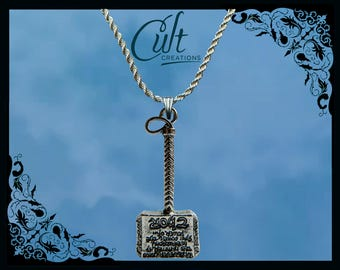 Marvel Thor silver / faux leather necklace with Thor's hammer