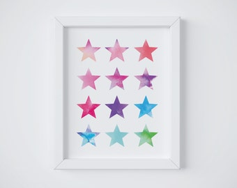 Watercolor Stars Printable, Wall Art, Stars, Watercolor, Home decor, Girls Bedroom, Kids Artwork