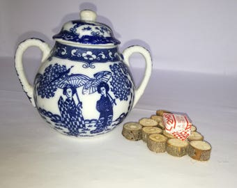 Sugar bowl made in japan-sugar bowl decorations blue-sugary vintage-gift for her -old sugar bowl