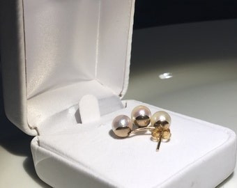 Solid 14k Yellow Gold 6.8mm Cultured Pearl Earrings~Classic! Excellent Condition!