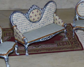 1:12th Dollhouse Shabby Chic Sofa, Side Chair, Arm Chair.  French Country.  Cottage  Look.  Blue, White, Gold Trim.