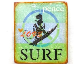 Aqua/Blue/Green Peace,Love SURF-Vintage SurferBoy/Girl,Wave Rider,Beach Sports,OceanLiving, high gloss resin coat ,OnLghtHollowWoodenCradle.