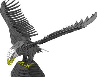 Bald Eagle Landing American Bird CNC Laser Router Pattern