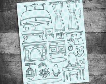 Bedroom stamps, Furniture stamps, bed stamp, fireplace stamp, Boudoir unmounted Rubber Stamps by Starving Artistamps