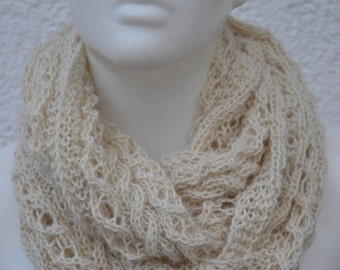 Loop Shawl Scarf Alpaca with filigree Ajour pattern knitted