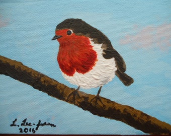 Bird Painting, Bird Acrylic, original acrylic painting, robin painting, robin, signed art