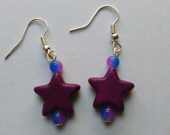 Dark purple Coloured Turquoise stone stars,  beaded dangly Earrings