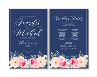 Floral Wedding Programs, Floral Wedding, Watercolor Flowers, Watercolor Floral, Floral Programs, Ceremony Program, Order of Service #CL331