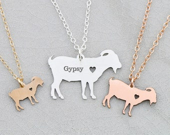 SALE • Goat Necklace Personalized Pet • Goat Jewelry Farm Animal Lover Gift • Funny Gift Birthday Farm Gift Animal Charm Animal Necklace Pet