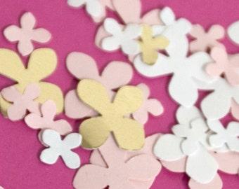 Gold White Pink hydrangea paper confetti in two tiny sizes CourtsGarden