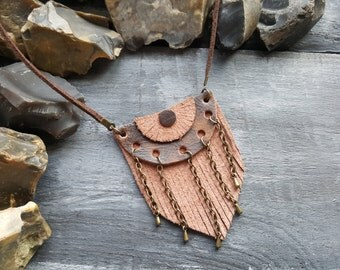 Brown leather necklace. Leather and chain necklace. Boho necklace. Bohemian necklace. Tribal necklace. Hippie necklace. Leather jewelry.