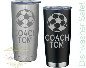 Gift for Soccer Coach Engraved 20 oz Stainless Steel Coffee Tumbler Reusable Vacuum Insulated Travel To-Go Mug coffee, tea cup thermos