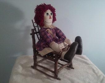 22' doll in chair, Americana doll, Raggedy Ann doll, Americana raggedy Ann, Rag doll, primitive raggedy, Americana doll,