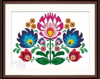 Polish Folk Art Lowickie Flowers digital pattern instant download folky cross stitch