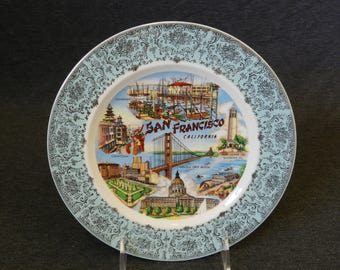 "Vintage San Francisco, California 8-1/4"" Souvenir Plate - Aqua, Turquoise, Fisherman's Wharf, Coit Tower, Union Square, City Hall, Chinatown"
