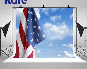 American Flag Independence Day Photography Backdrops Blue Sky White Clouds Photo Backgrounds for July 4th Studio Props