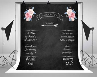 Wedding Blackboard Photography Backdrops Custom Made Chalk Photocall Rose Florals Photo Backgrounds for Studio Props