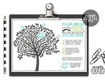 It's a Boy Couple Baby Shower Invitation - Turquoise Blue Green White Tree Bird Butterfly Cute Unique Modern DIY Boy Baby Shower Invite