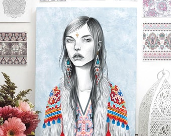 Bohemian print of a gypsy girl. Limited Edition Illustration