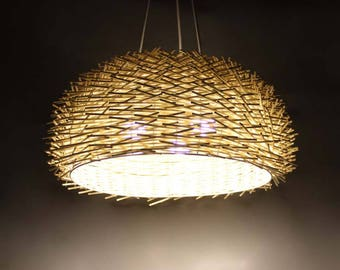 Cane Bird Nest Pendant Lights-Cane lamp Fixtures-Rustic Lamps-Hanging Lamp-Countryside Lamps-Home Decoration-3 X Lamp Holders-110-240V