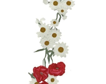 Daisies Long Floral Embroidery Applique Fabric Patches