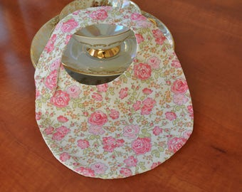 Liberty Felicite bib made out from pink and white waffle cotton fabric (baby up to 6 months)
