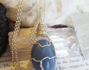 Wire Wrapped Blue ANGELITE Positive Healing Crystal Reiki Energy Stone Necklace Boho Chic Wicca Magic Pagan Gypsy Bohemian Jewelry AL31917