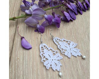 White chandelier lace Earrings  - boho earrings - Mother's Day gift - gift for her