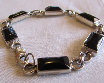 Sterling Silver and Black Onyx Link Bracelet