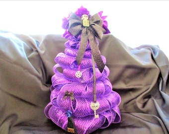 Halloween Purple Mini Tree, Purple Mesh Tree, Hekate/Hecate Deco Mesh Alter Tree,Year Around Tree,Deco Ribbon Mesh Tree