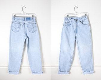 Faded Levi's Jeans, Levi's 550, grunge jeans, Light Blue Denim Jeans, High Waist Jeans, 80s Jeans, Boyfriend Jeans 90s Jeans Grunge Clothing